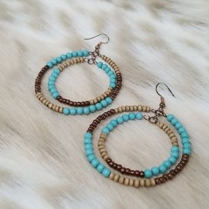 Beaded Wooden and Turquoise Hoop Earrings
